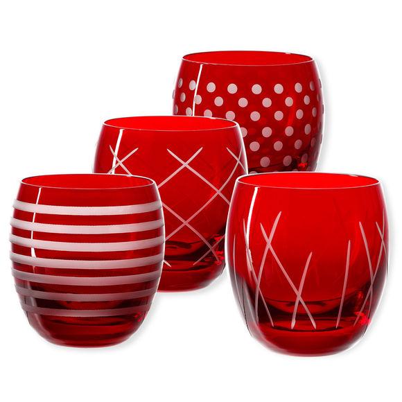 Gobelets bas taillés couleur rouge 30cl - Lot de 4