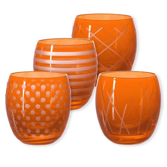 Gobelets bas taillés couleur orange 30cl - Lot de 4