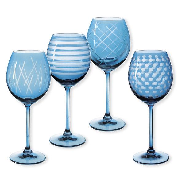 Verres à vin taillés couleur bleu 35cl - Lot de 4