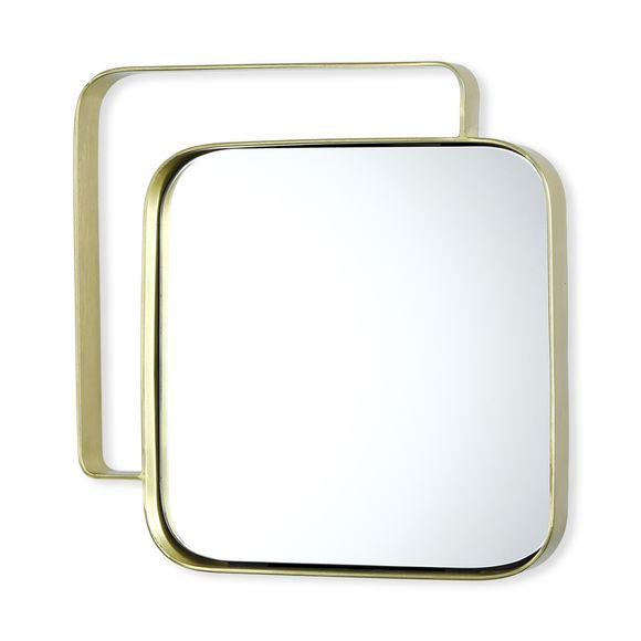 Miroir carré en métal couleur or 31cm
