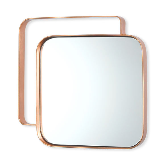 Miroir carré en métal couleur cuivre 31cm