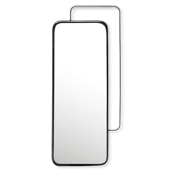 Miroir rectangulaire en métal couleur argent 51x24cm