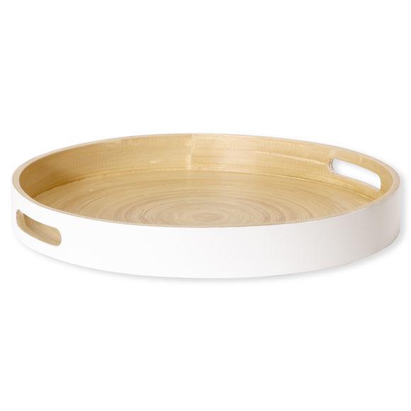 Plateau de service rond en bambou blanc 35cm
