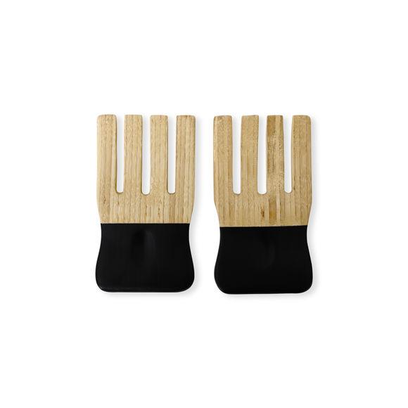 Manettes à salade en bambou noir 9cm
