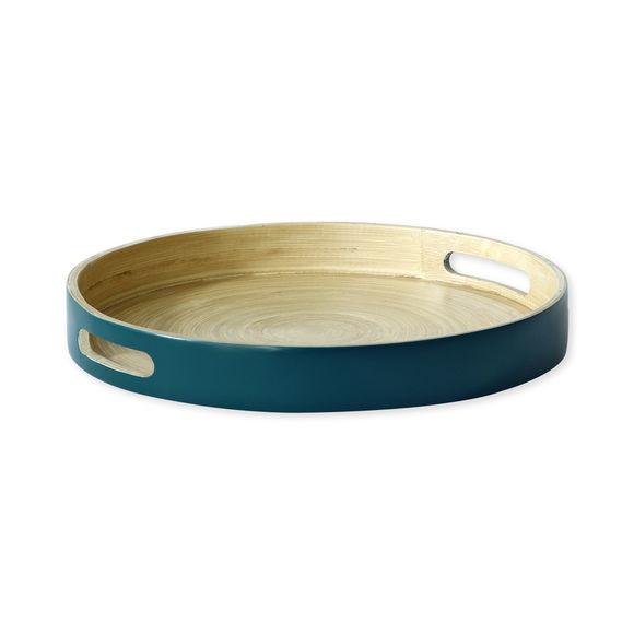 Plateau de service rond en bambou bleu 30cm