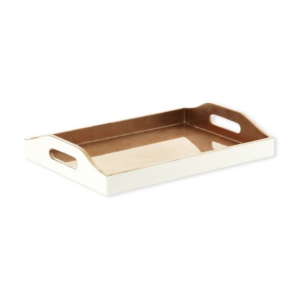 Plateau de service rectangle en bois couleur cuivre 35x25cm