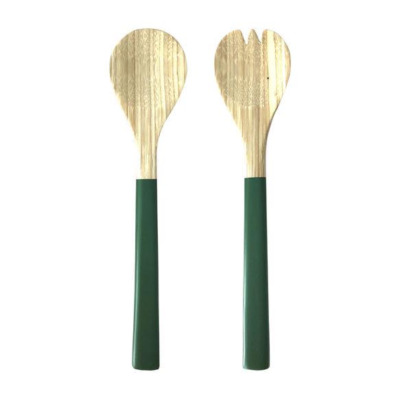 Couverts à salade bambou vert 30cm