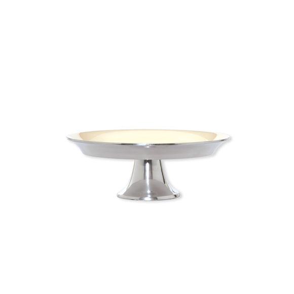 Assiette sur pied en aluminium couleur ivoire 20cm