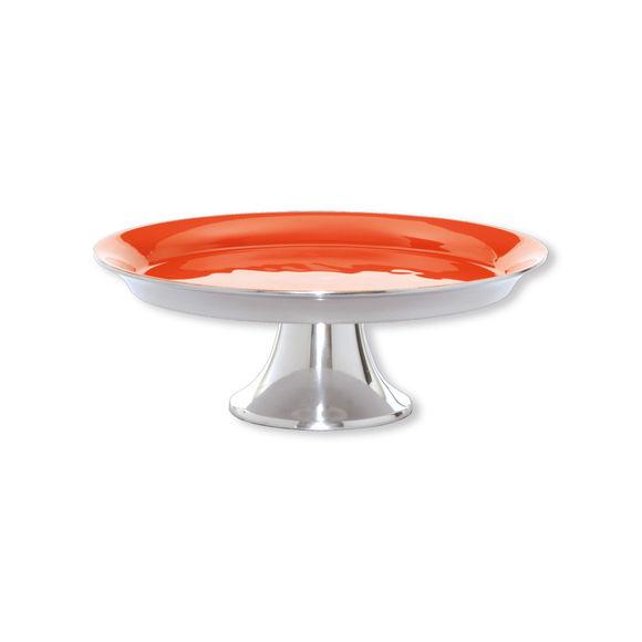 Assiette sur pied en aluminium couleur orange 25cm