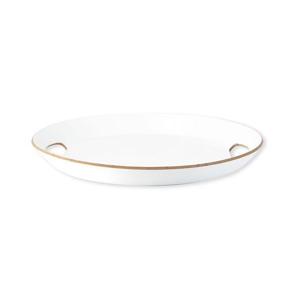 Plateau de service ovale en bois blanc 37x33cm