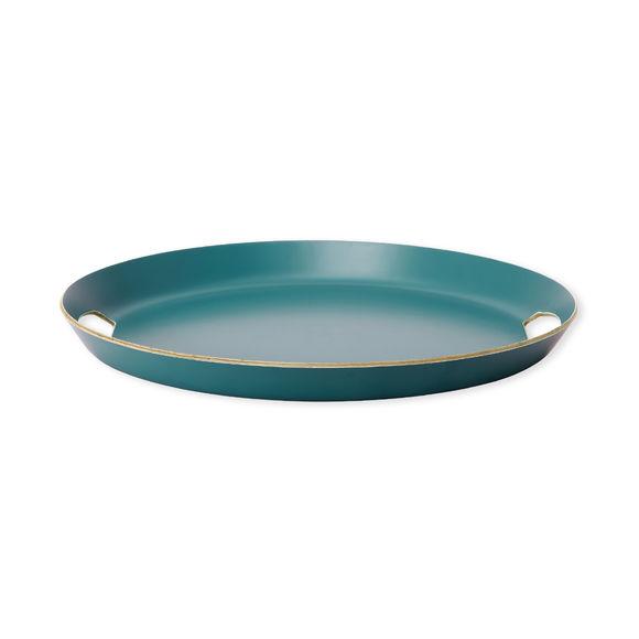 Plateau de service ovale en bois bleu canard 37x33cm