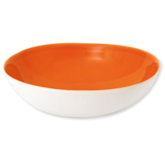 Plat rond creux en faïence orange 32cm