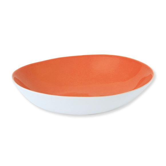 Plat rond creux en faïence orange 29cm