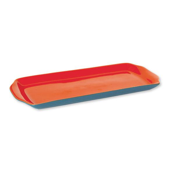Plat à cake en faïence bicolore orange bleu 34x14cm