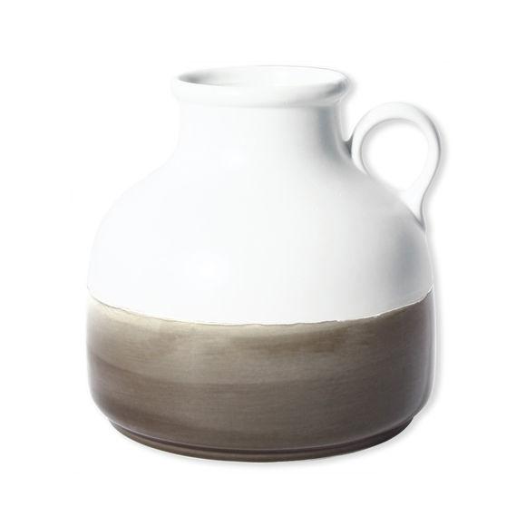 Vase en céramique blanc et beige 20cm