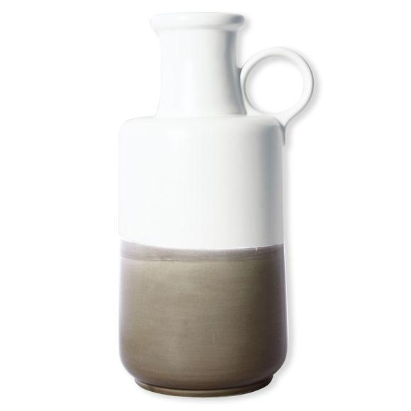 Vase en céramique blanc et beige 34cm