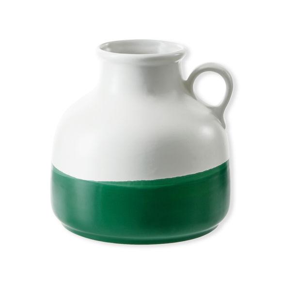 Vase en céramique blanc et vert 20cm