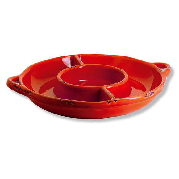 Plat à compartiments en faïence rouge 36cm