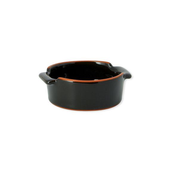 Plat à four rond noir en terre cuite 10cm