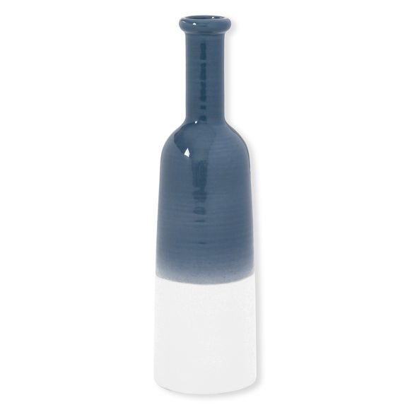 Vase bouteille bleu en céramique Ht.35cm