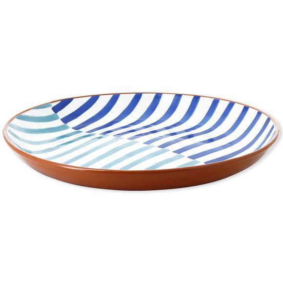 Plat rond plat en céramique motifs rayures 38cm