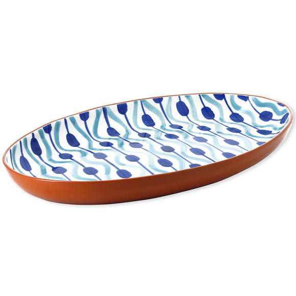 Plat ovale en céramique motifs boules 49x32cm