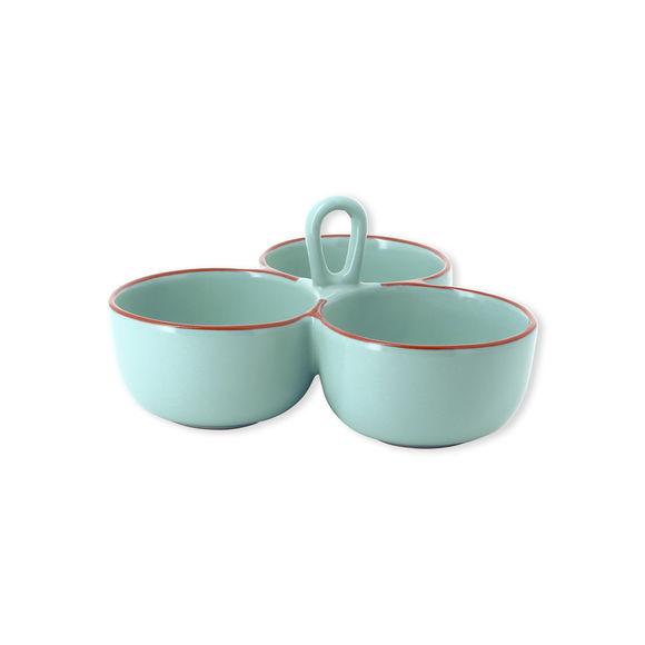 Plat 3 compartiments en céramique turquoise