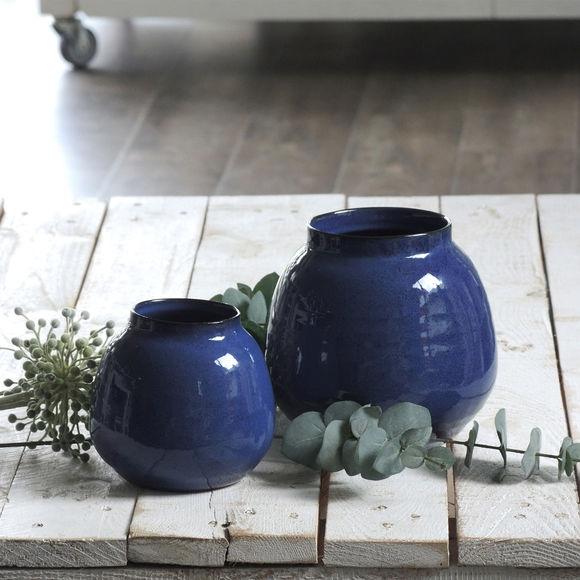Vase design en gr s bleu marine 14cm objet d co for Objet deco bleu