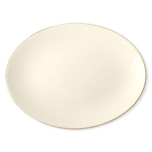 Plat ovale en grès ivoire 36x27cm