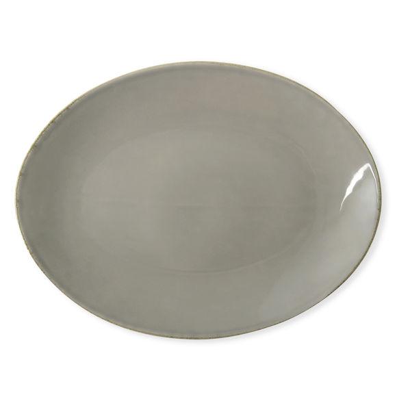 Plat ovale en céramique taupe 36x27cm