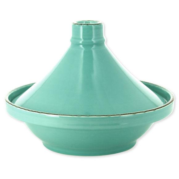 Plat à tajine en grès bleu turquoise 28cm