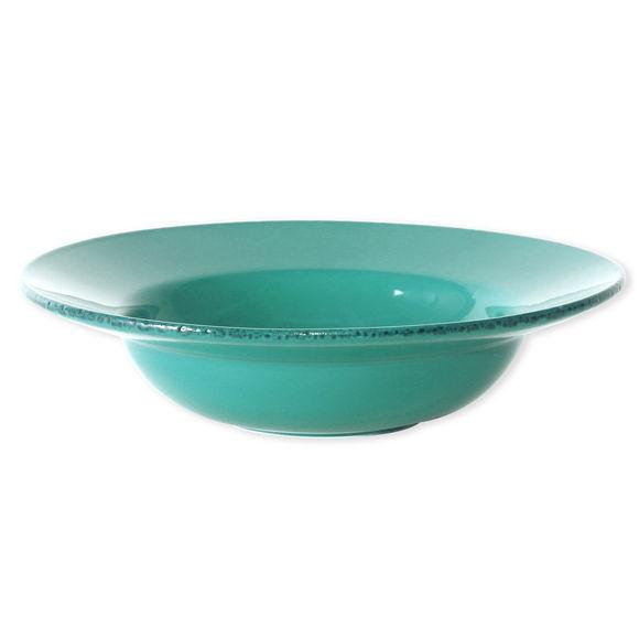 Plat rond creux en grès bleu turquoise 35cm