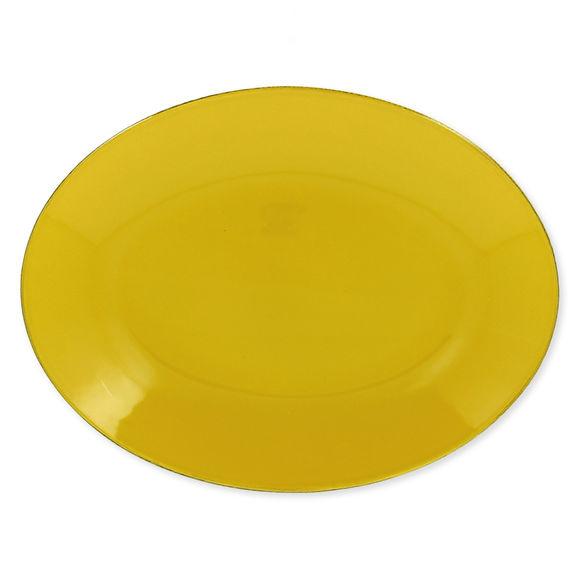 Plat ovale en grès jaune 36x27cm