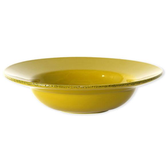 Plat rond creux en céramique jaune 35cm