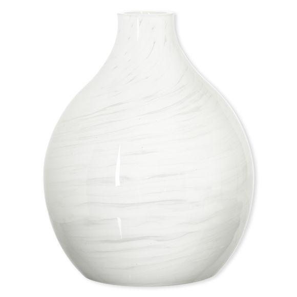 Lampe à poser en verre blanc 30cm