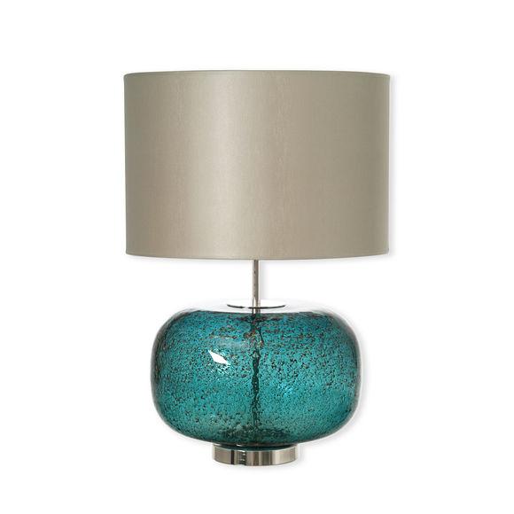 Lampe en verre bleu avec abat-jour 55cm