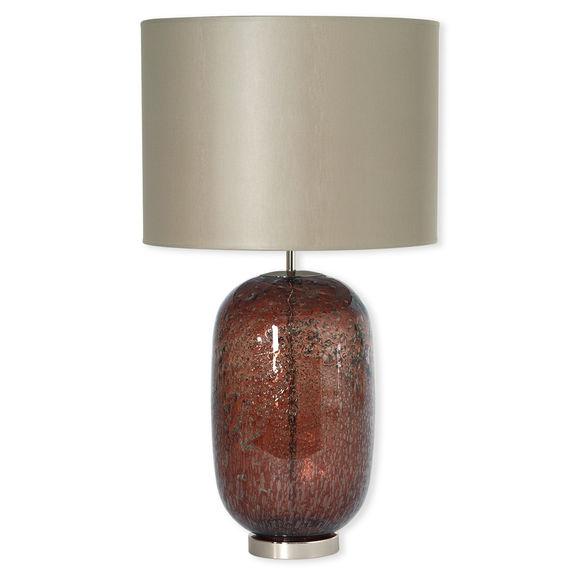 Lampe en verre chocolat avec abat-jour 68cm