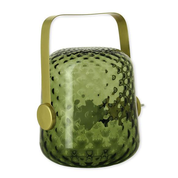 Lampe à poser en verre vert fumé 24cm