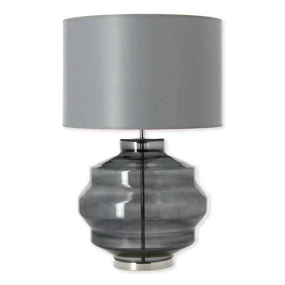 Lampe en verre gris fumé avec abat-jour 58cm