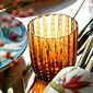 Gobelet bas en verre soufflé bouche ambre 35cl