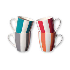 Mugs à rayures en faïence 25cl - Coffret de 4
