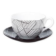 Tasse déjeuner motifs graphiques en porcelaine 39cl