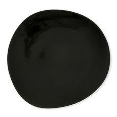 Assiette plate noire asymétrique en porcelaine 28cm