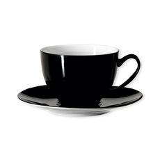 Tasse à thé noire asymétrique en porcelaine 20cl