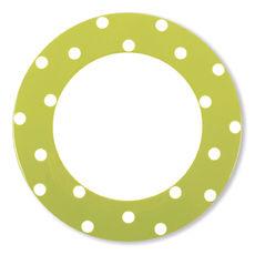 Assiette plate à pois vert anis en porcelaine 29cm