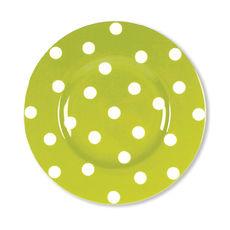 Assiette dessert à pois vert anis en porcelaine 22cm