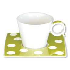 Tasse à café à pois vert anis en porcelaine 12cl