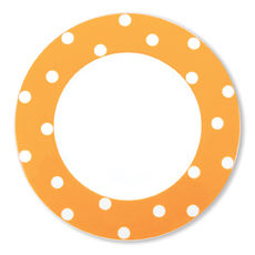 Assiette plate à pois orange en porcelaine 29cm