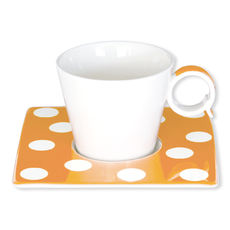 Tasse à café orange à pois en porcelaine 12cl