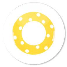 Assiette creuse à pois jaune en porcelaine 24cm
